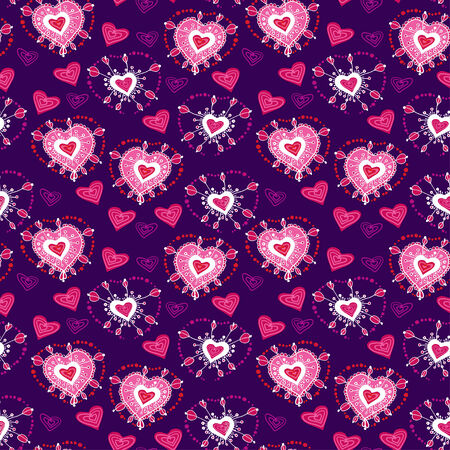 Seamless Violet cartoon pattern with cartoon heart Vector