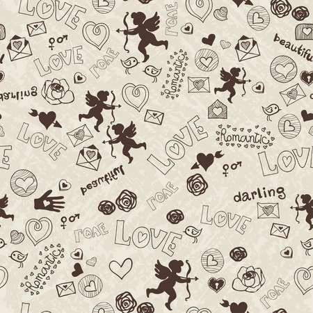 Pattern with cartoon love icons Vector