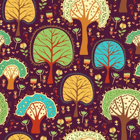arboles de caricatura: Papel tapiz de bosque con �rboles de la historieta