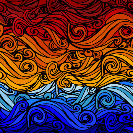abstract waves: Seamless abstract hand-drawn waves Background Illustration