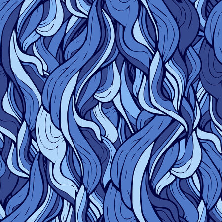 Seamless pattern with stylized blue curly hair
