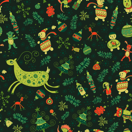 varied: Christmas pattern - varied Xmas trees and fir tree