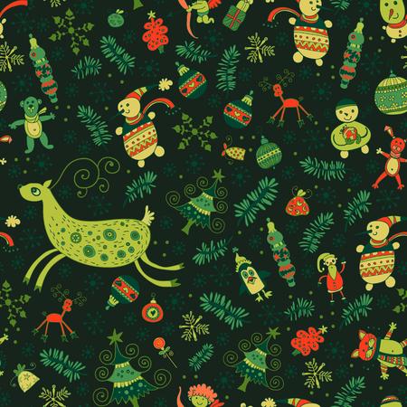 Christmas pattern - varied Xmas trees and fir tree