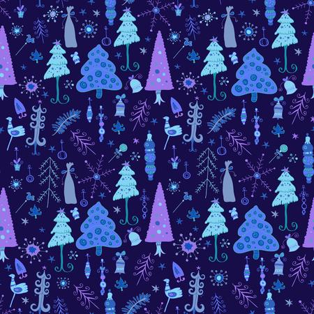 Christmas pattern - varied Xmas trees and snowflakes