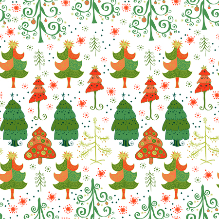 varied: Christmas pattern - varied Xmas trees and snowflakes