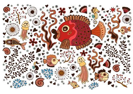 sea horse: Colored Set of elements on the tropic sea life. Marine collection: jellyfish, sea horse, sea urchins, algae,