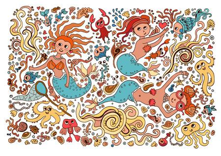 coral colored: Colored Set of elements on the tropic sea life. Marine life: octopus, mermaid, pearls, fish, seaweed, mermaid, coral, shrimp.