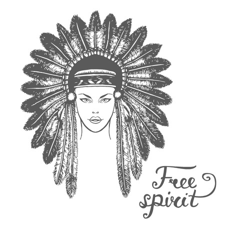 free spirit: Poster with hand drawn abstract Indian female head and text on white background. Free spirit. Vector illustration. Tribal theme background with Indian female head. Illustration
