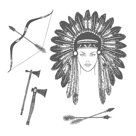 chief headdress: Vector ink ethnic set with arrows, bows, tomahawks and native american indian chief headdress. Vector illustration with ethnic elements isolated on white background. Tribal theme background Illustration