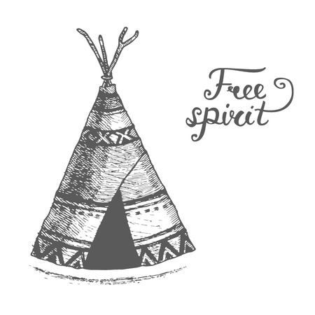 wigwam: Poster with hand drawn abstract wigwam and text on white background. Free spirit Vector illustration with wigwam american indians isolated on white background Tribal theme background with wigwam. Illustration