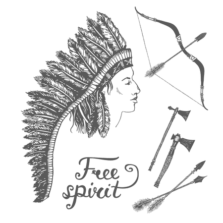indian chief headdress: Vector ink ethnic set with arrows, bows, tomahawks and native american indian chief headdress. Vector illustration with ethnic elements isolated on white background. Tribal theme background Illustration