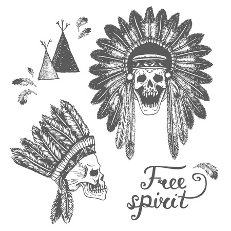 indian headdress: Set of two Hand Drawn American Indian Headdress With Human Skulls. Vector Monochrome Illustration with ethnic elements isolated on white background. Tribal theme