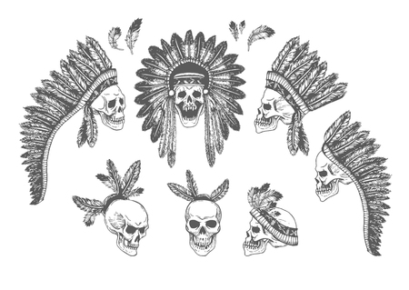 indian headdress: Set of 7 Hand Drawn American Indian Headdress With Human Skulls. Vector Monochrome Illustration with ethnic elements isolated on white background. Tribal theme