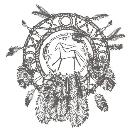 Dibujados a mano con tinta cazador de sueños con plumas. Ilustración étnica, tribal, americano indios símbolo tradicional. Aislado. En el fondo blanco Foto de archivo - 57434582
