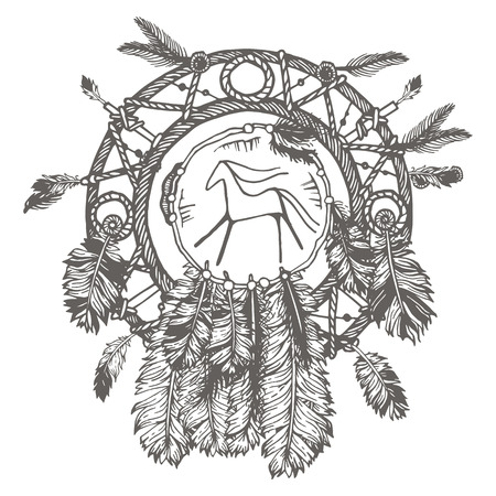 Hand-drawn with ink dreamcatcher with feathers. Ethnic illustration, tribal, American Indians traditional symbol. Isolated. On white background