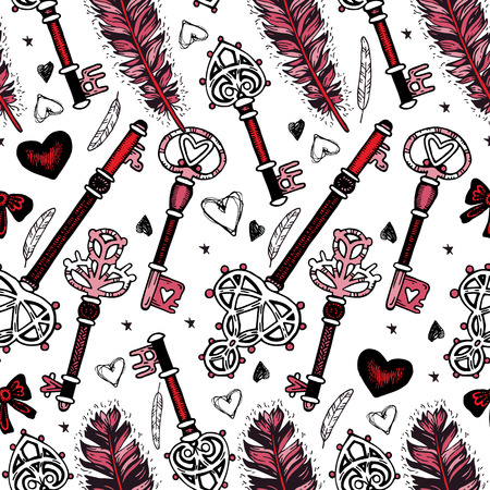 secret love: Background with vintage key, hearts, ethnic feathers and stars. Ethnic seamless pattern in native style. Tribal theme. Romantic seamless