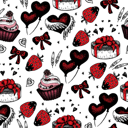 bunt: Background with ethnic feathers, hearts, gift boxes, cupcake, ring and stars. Romantic seamless pattern in native style. Romantic theme.