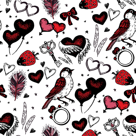 bunt: Background with ethnic feathers, hearts, ring and stars. Romantic seamless pattern in native style. Romantic theme. Illustration