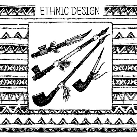 Hand drawn painted seamless pattern. Set of ink ethnic stripes