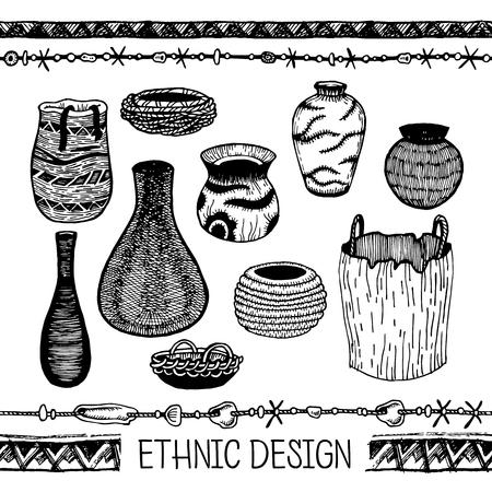 ware: Vector illustration. Set of doodle tribal Ware.