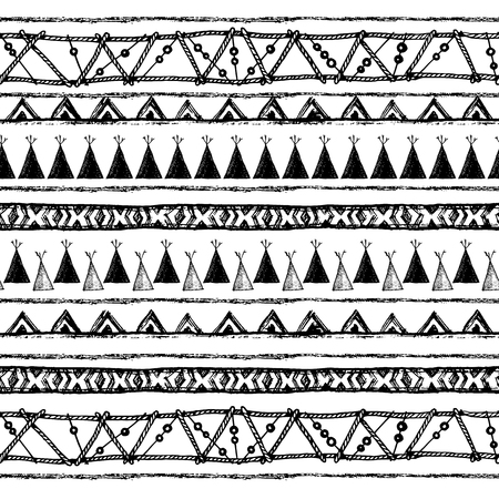 illustrated: Hand drawn painted seamless pattern. Set of ink ethnic stripes