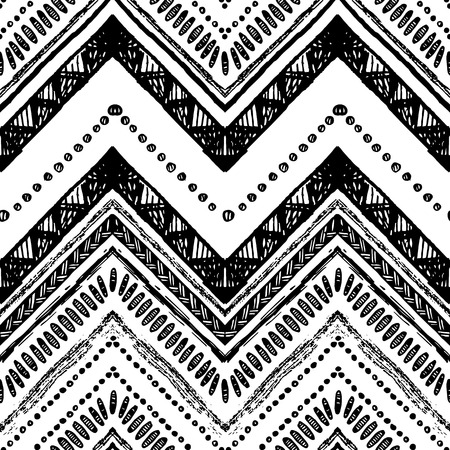 chevron patterns: Hand drawn tribal pattern. Black and white colors. For textile, wallpaper, wrapping paper. Ethnic theme Illustration
