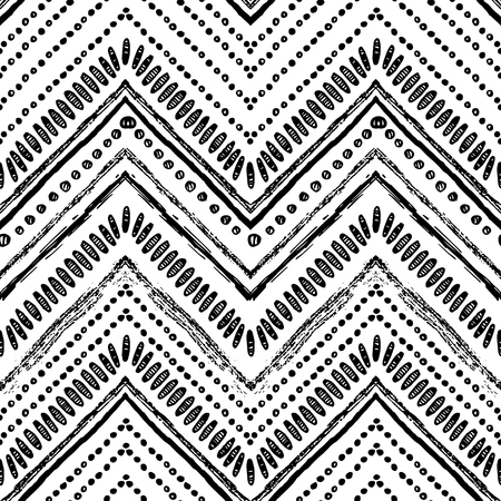 Hand drawn tribal pattern. Black and white colors. For textile, wallpaper, wrapping paper. Ethnic theme  イラスト・ベクター素材
