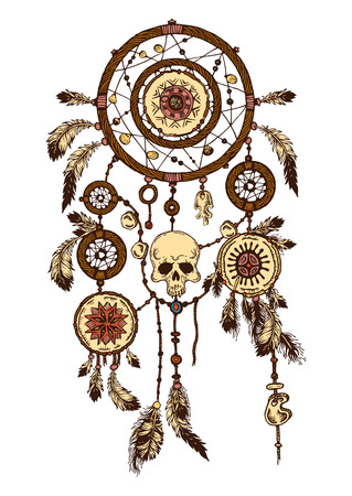 dream catcher: Hand-drawn with ink dreamcatcher with feathers. Ethnic illustration, tribal, American Indians traditional symbol. Tribal theme. Colorful dream catcher