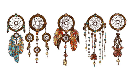 dream catcher: Set of 5 colored dreamcatchers. Hand-drawn with ink dream catcher with feathers. Ethnic illustration, tribal, American Indians traditional symbol. Tribal theme.