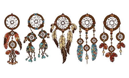 Set of 5 colored dreamcatchers. Hand-drawn with ink dream catcher with feathers. Ethnic illustration, tribal, American Indians traditional symbol. Tribal theme.