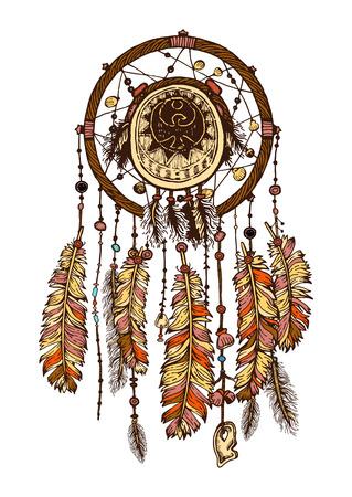 Disegnati a mano con Dreamcatcher inchiostro con piume. illustrazione etniche, tribali, americano indiani simbolo tradizionale. tema tribale. acchiappasogni colorato Vettoriali