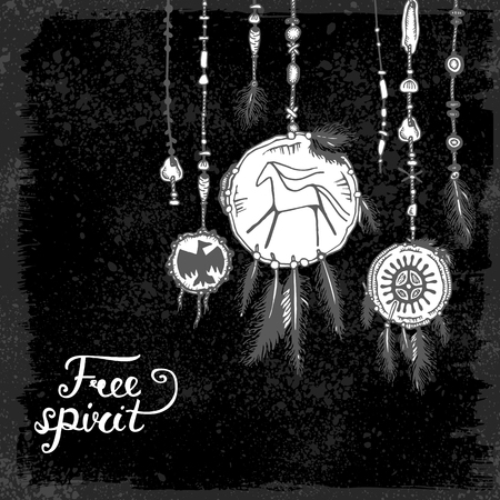 free spirit: Set of hand drawn ethnic feathers & jewelry pendants and text on black background. Free spirit. Vector illustration with ink ethnic elements american indians isolated on black background. Tribal