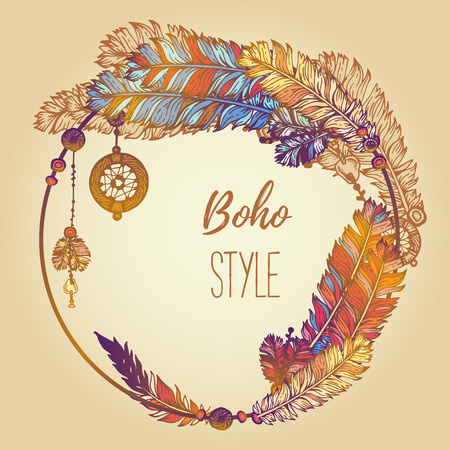 Hand drawn background with painted feathers, arrows and beads. Wreath border. Ethnic frame. Boho Colorful vector Illustration. Summer t-shirt design