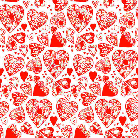 hatched: Valentines Day seamless pattern of hand drawn red hearts, Vector illustration. Red ornate hatched elements on a white background. Isolated