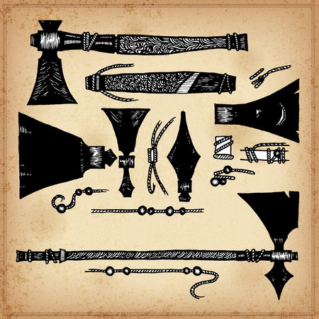 primitive tools: Set of hand drawing ink elements of American Indian axes and Tomahawks. Vector illustration. Elements in native style for greeting card and postcard, henna and tattoo design. Illustration