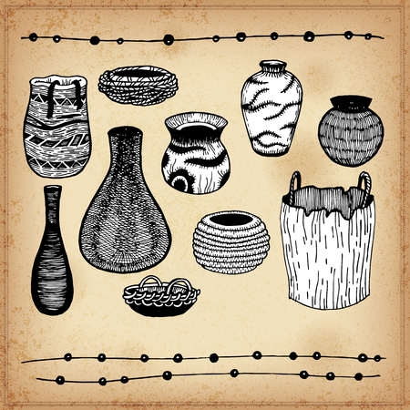 crockery: Ware Indians of North America. Line art. Isolated. Crockery. Ink on a grand background. Tableware
