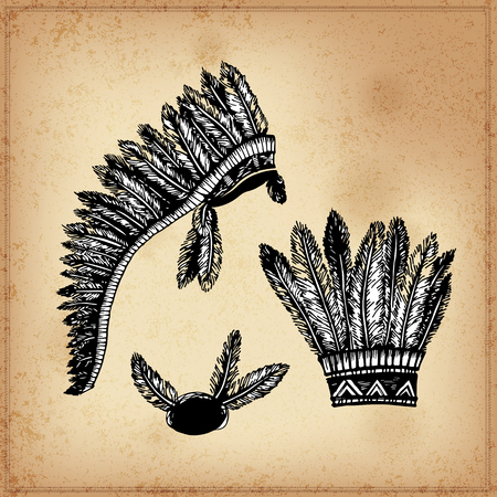 indian ink: Set of hand drawing ink black and white Indian headdress. Vector. Set of doodle tribal Indian ink headdress. Elements in native style for greeting card and postcard, henna and tattoo design.