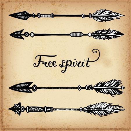 flecha direccion: Conjunto de elementos de tinta dibujo de la mano de las flechas y las flechas. Ilustración del vector. Conjunto de flechas del doodle tribales. Los elementos de estilo nativo para la tarjeta de felicitación y postal, henna y el diseño del tatuaje.