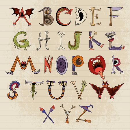 horrible: Horrible font for your design. Alphabet of monster characters.