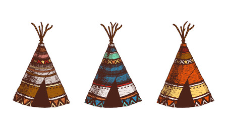 Set of 3 colored wigwams. Isolated. The concept for the design. Vector illustration. Front view. Authentic house American Indians.