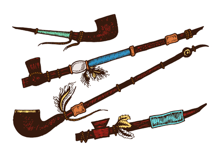 calumet: Set of 4 colored smoking pipe. Isolated. The concept for the design. Vector illustration.