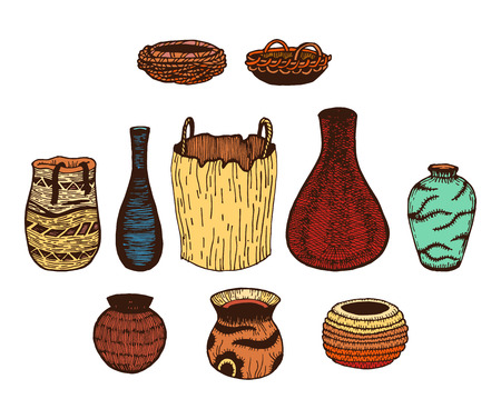 wicker: Ethnic hand drawn vector line colored set of wattled cookware. Ink Illustration