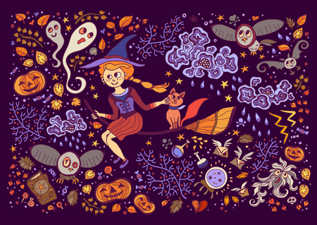 lightning storm: Set of Halloween elements. Beautiful wallpaper with cartoon characters. Collection with witch, cat, broom, clouds, lightning, storm, ghost, pumpkin, owl, book, ball.