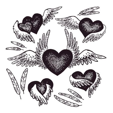 tatouage ange: Éléments de style natif pour carte de voeux et carte postale, henné et conception de tatouage. Thème amoureux