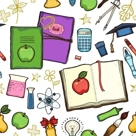 School childish bright background with detailed elements Illustration