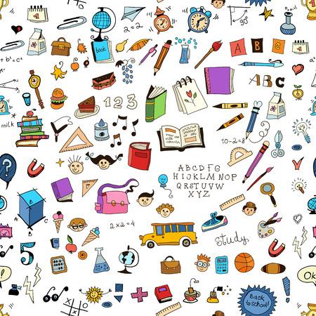 Ecole enfantine fond clair avec des éléments détaillés