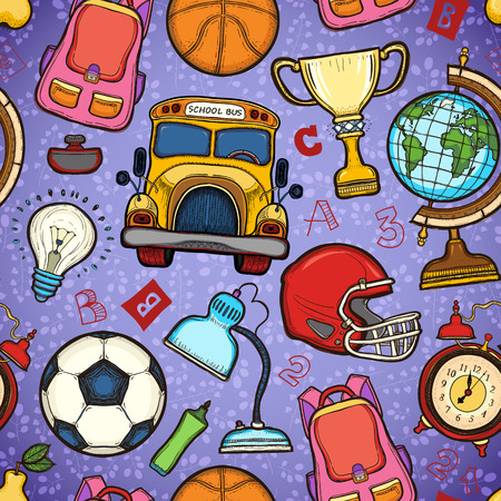 childish: School childish bright background with detailed elements Illustration