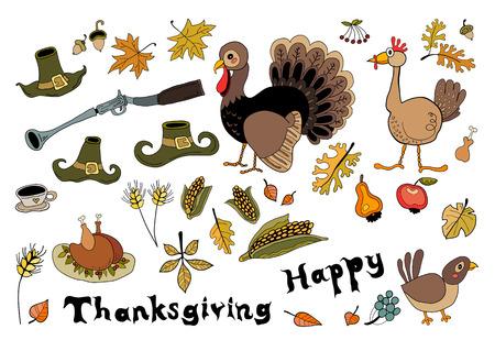 tea tree: Collection of turkey, guns, hats, maize, tea, apple, chicken, tree leaves for autumn festivals holidays Illustration