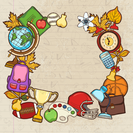 Back to school background. Collection of education elements: helmet, cup, baseball, globe, notebook, calculator, backpack, apple, palette illustration