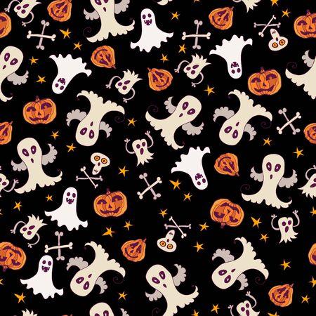 phantom: Halloween seamless silhouette bright kids doodle pattern.